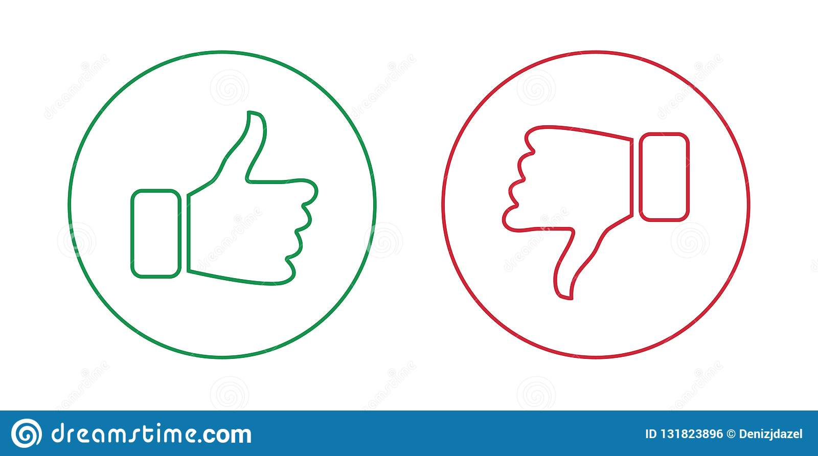 Like And Dislike Outline Icons Set Thumbs Up And Thumbs Down
