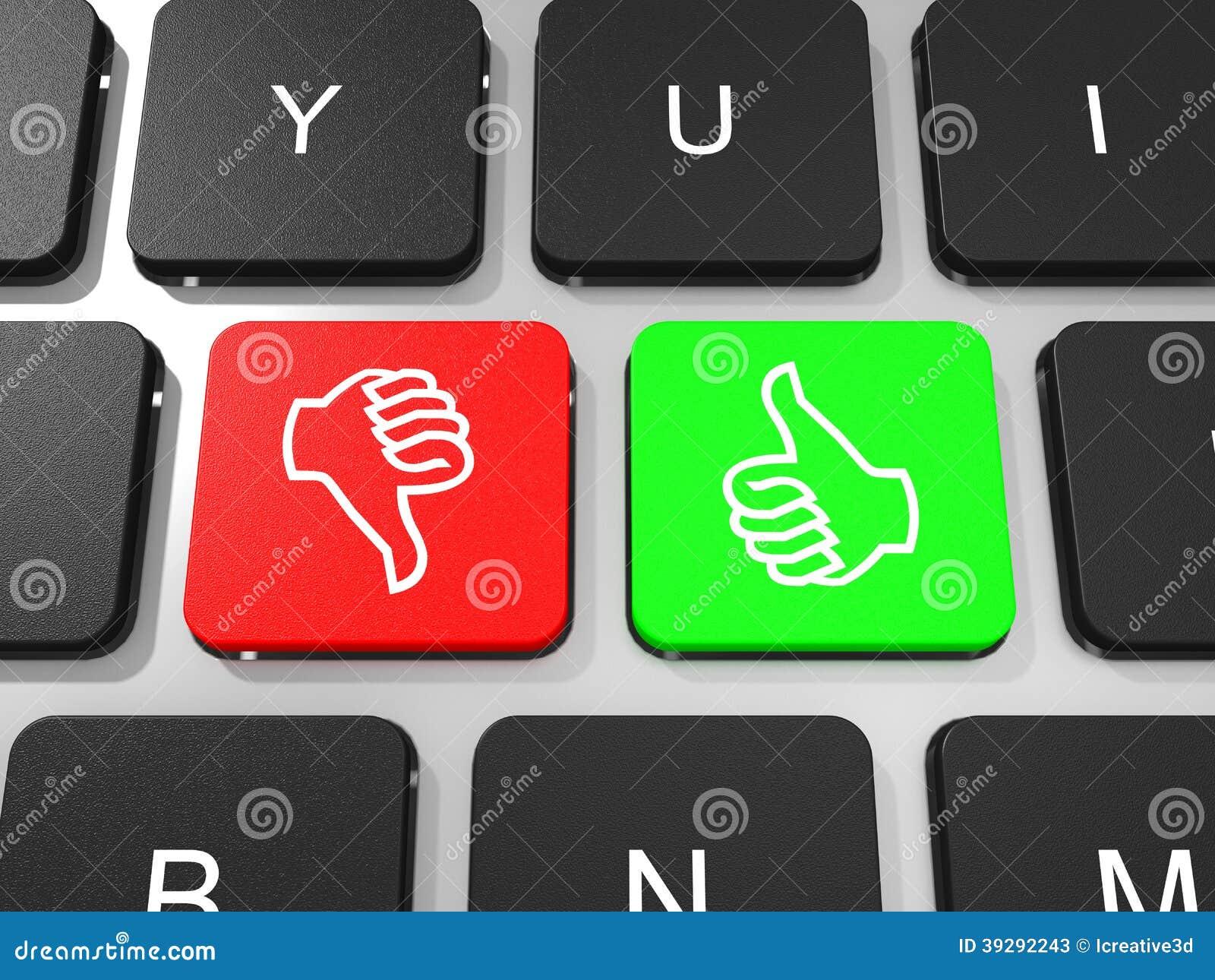 Like And Dislike Symbol Key On Keyboard Of Laptop Computer Stock