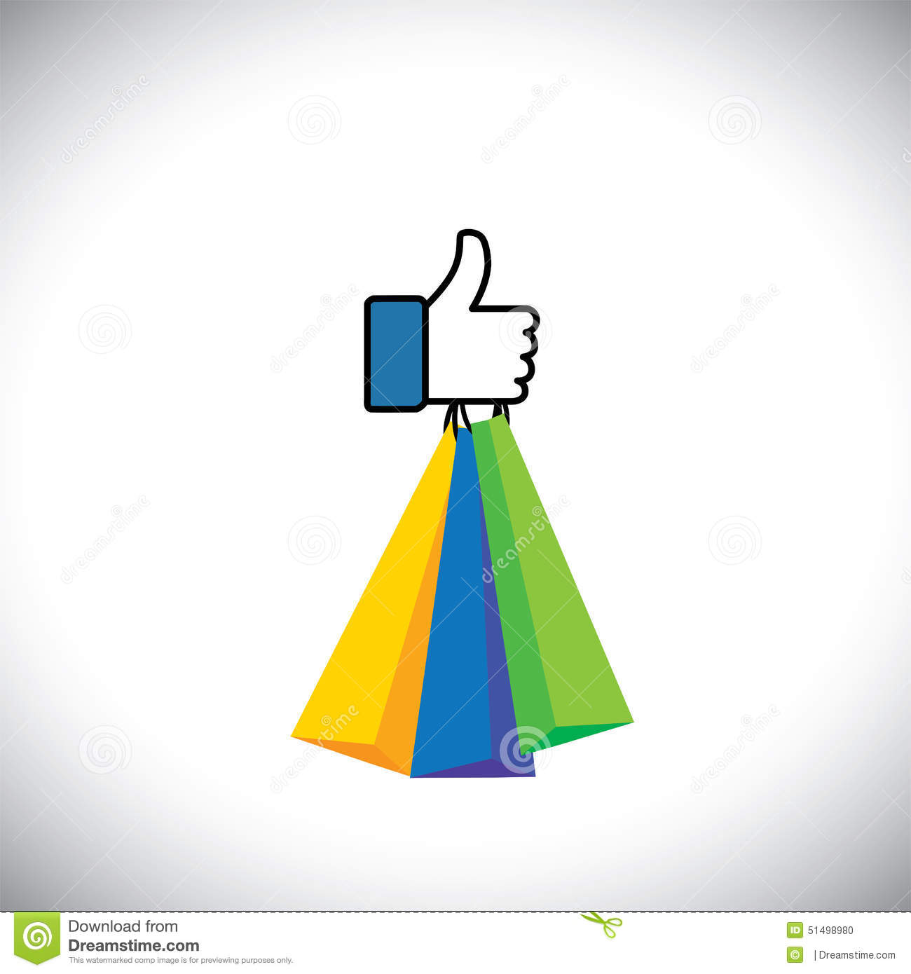 Like Hand Symbol Of Thumbs Up With Shopping Bags Vector Icon Stock