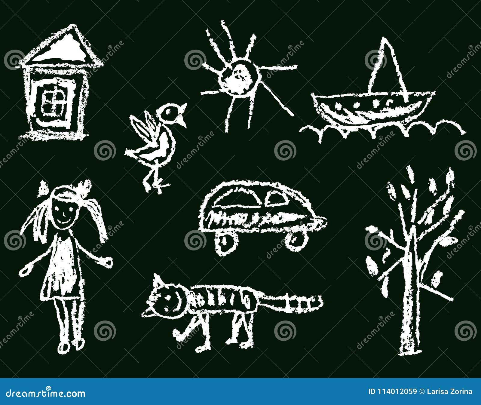 Like kid`s hand drawn girl house bird cat sun car tree ship.