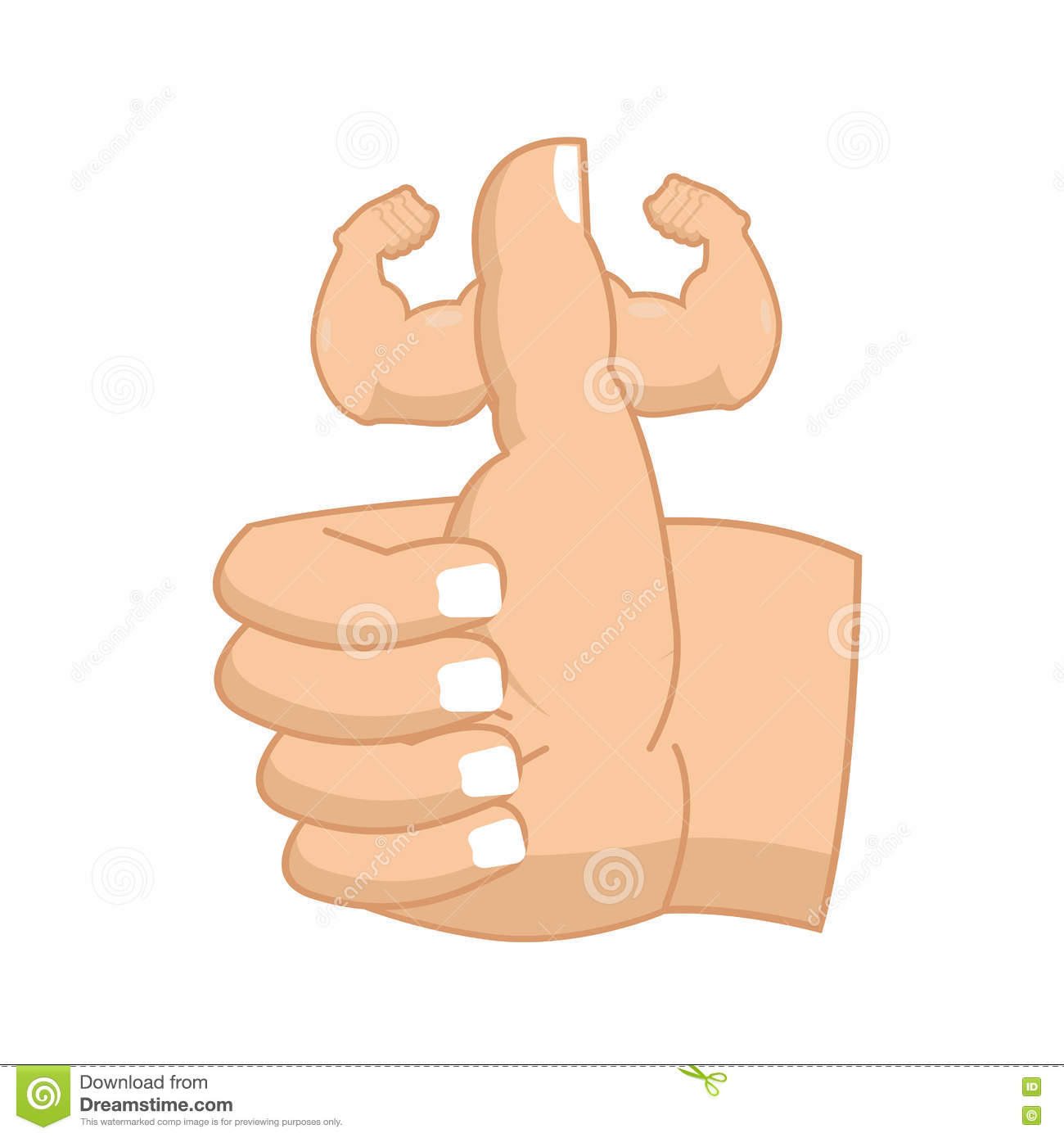 Like Strong Fitness Thumbs Up With Big Muscles Powerful Hand