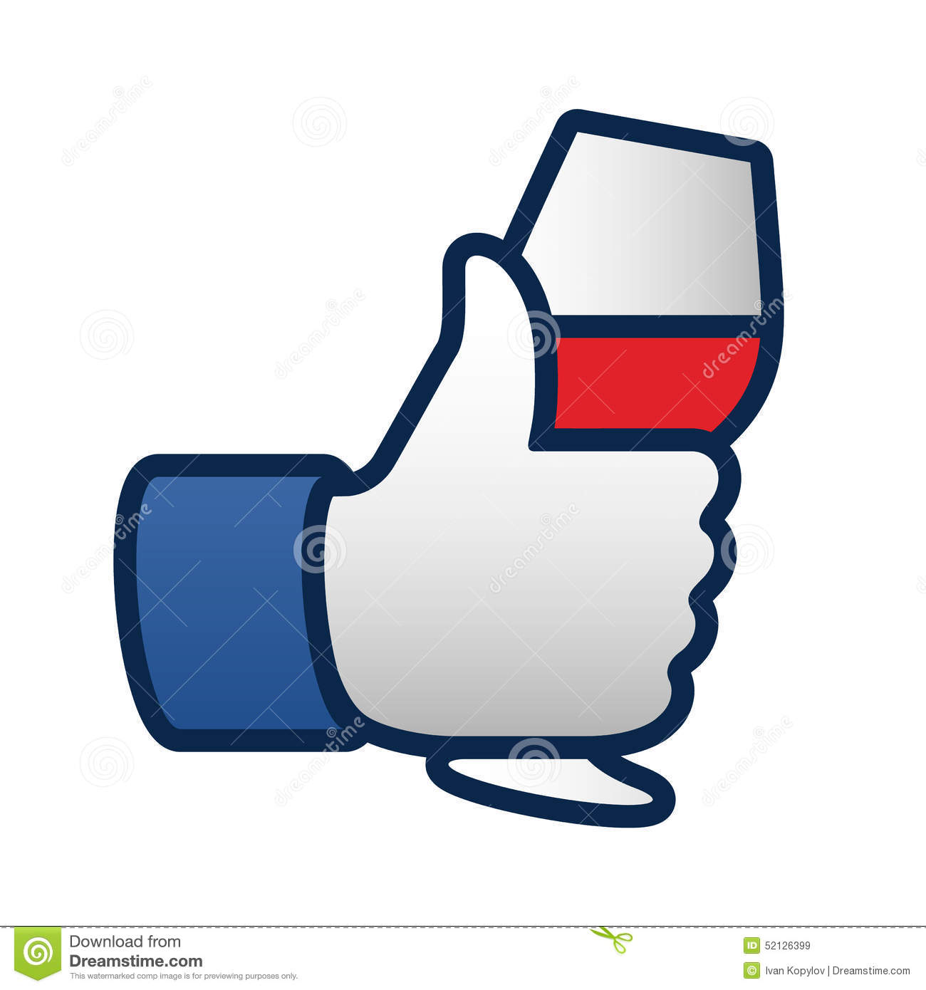 Like Thumbs Up Symbol Icon With Glass Of Red Wine Stock