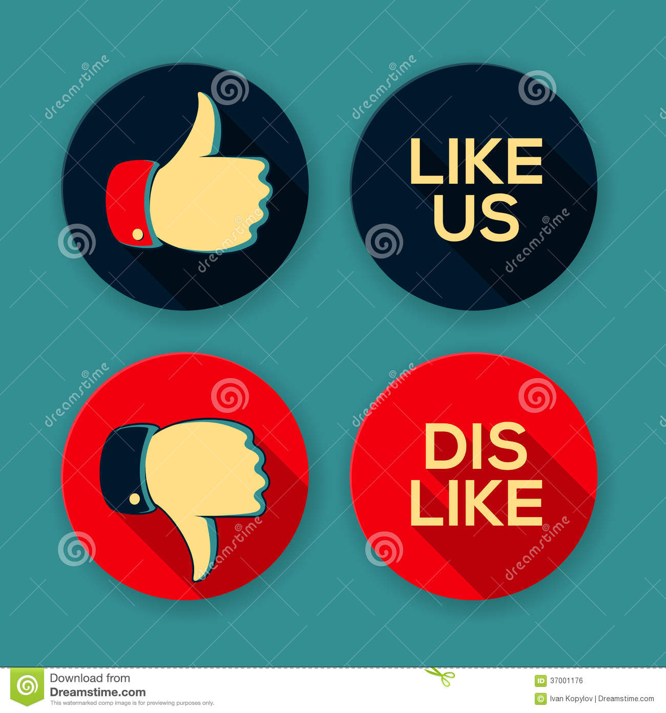 Like Us And Dislike Symbols Stock Vector Illustration Of Gesture
