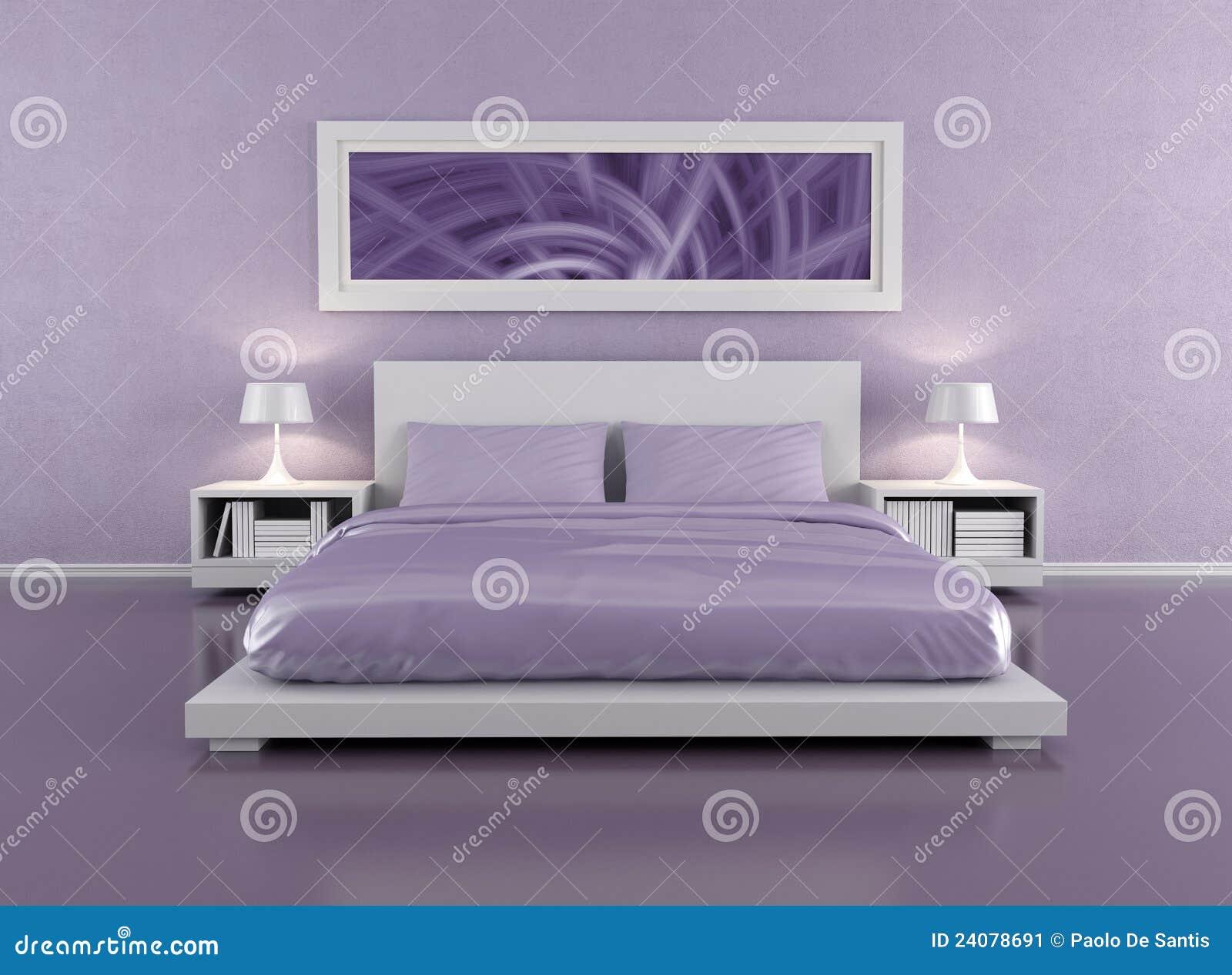 Lila Schlafzimmer stock abbildung. Illustration von möbel ...