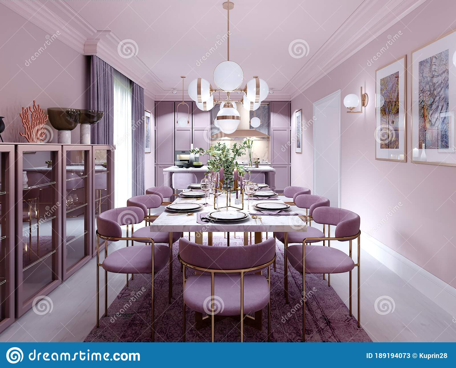 Lilac Color Dining Room In Trendy Art Deco Style With Modern Furniture Served Table And Chairs Stock Illustration Illustration Of Inspiration Kitchen 189194073