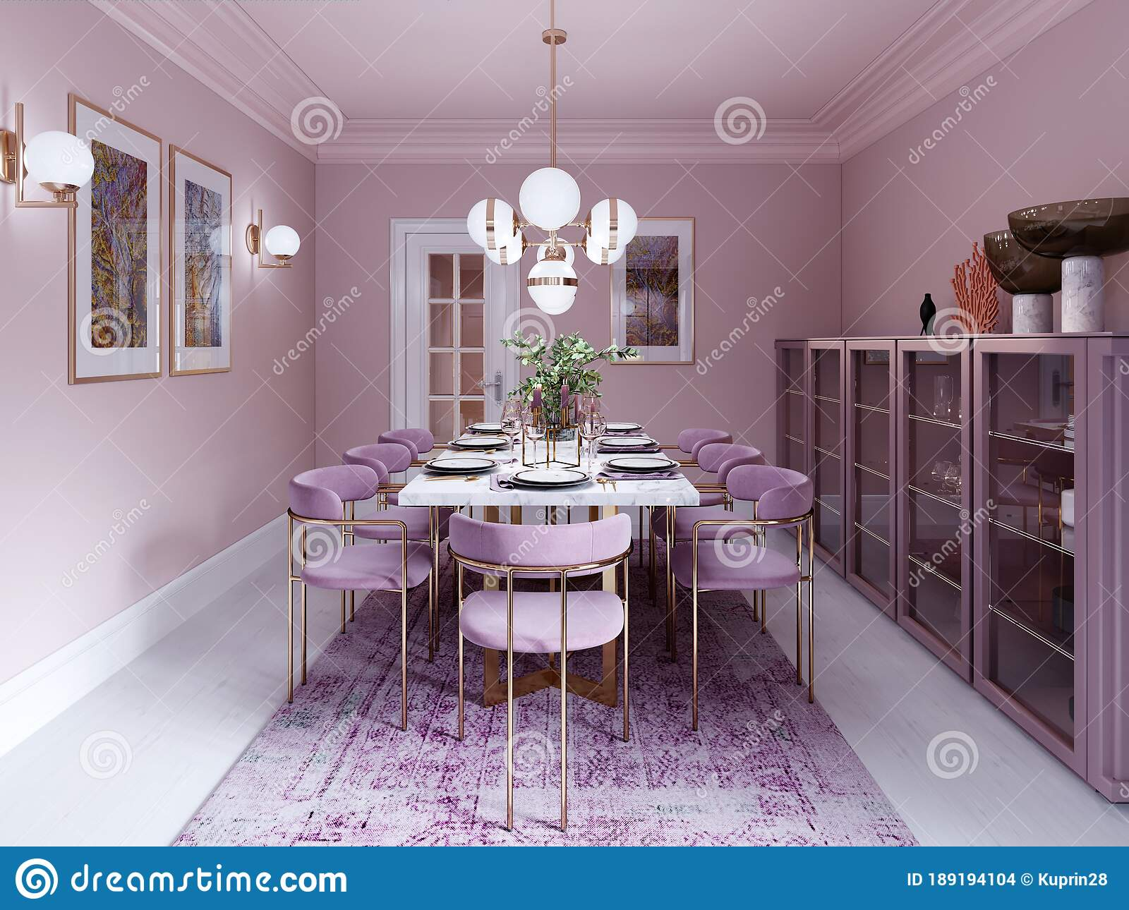 Lilac Color Dining Room In Trendy Art Deco Style With Modern Furniture Served Table And Chairs Stock Illustration Illustration Of Carpeting Chair 189194104