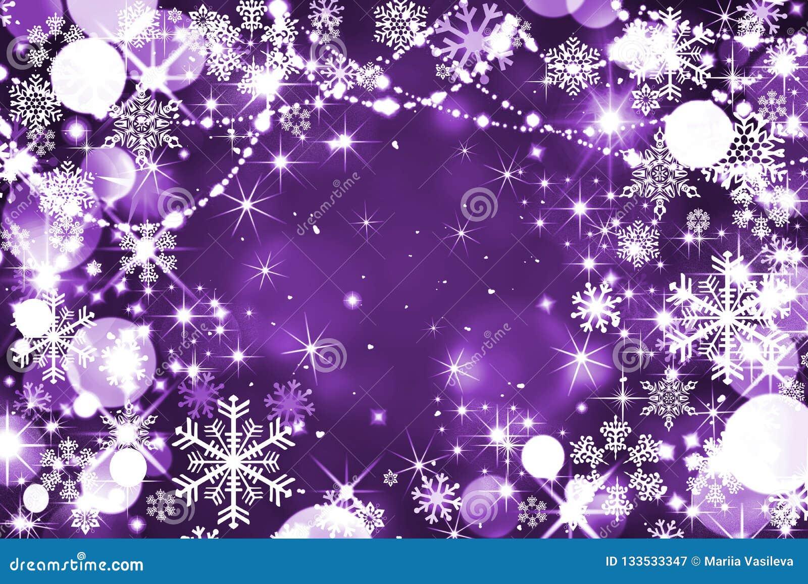 Lilac de winterachtergrond, Kerstmis, nieuw magisch jaar, nacht, whit