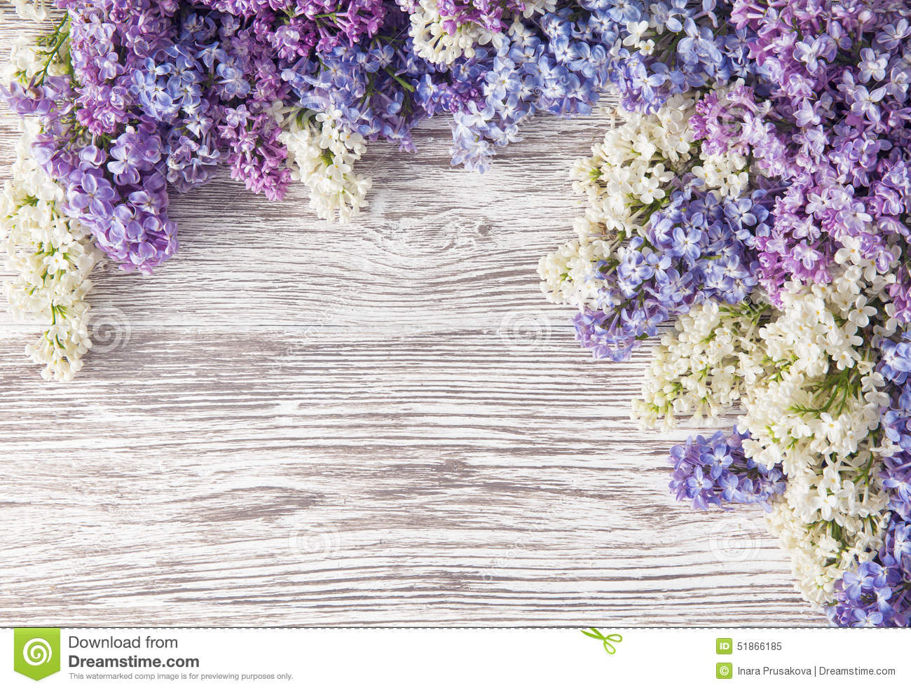 Lilac Flowers Bouquet On Wooden Plank Background, Spring ...