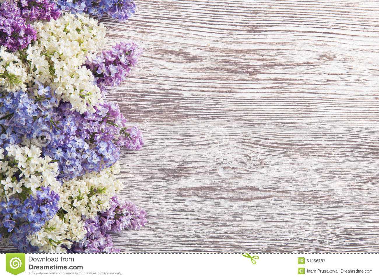 Lilac Flowers Bouquet On Wooden Plank Background Spring