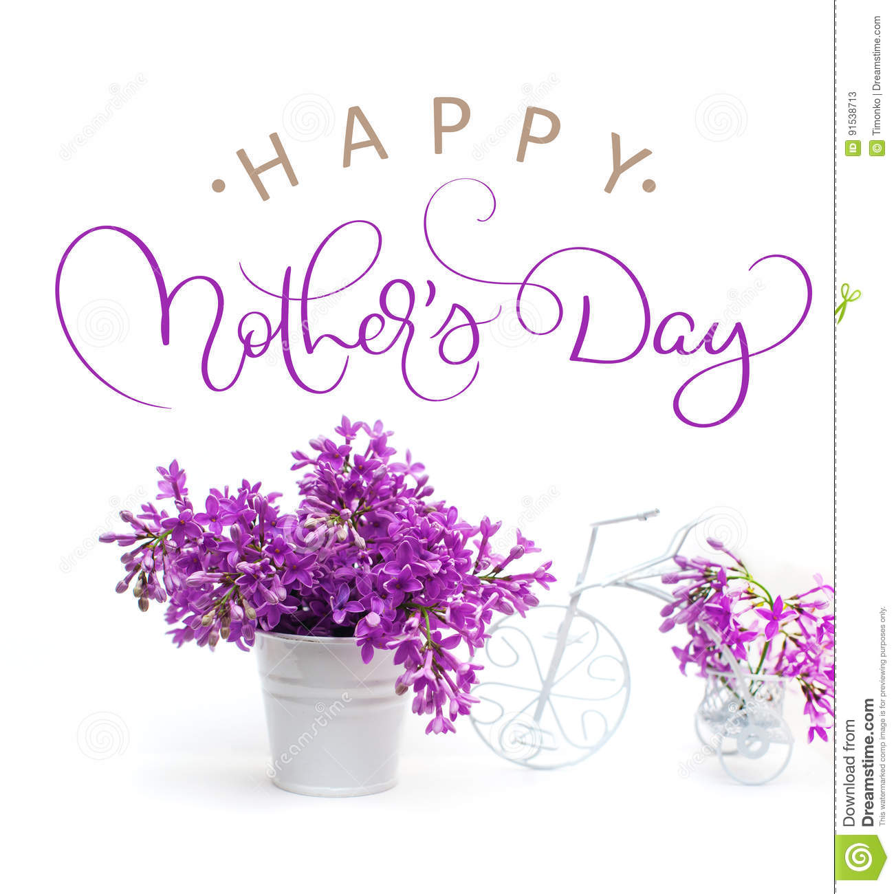 Lilac Flowers On A White Background Decorated With Small Bike And