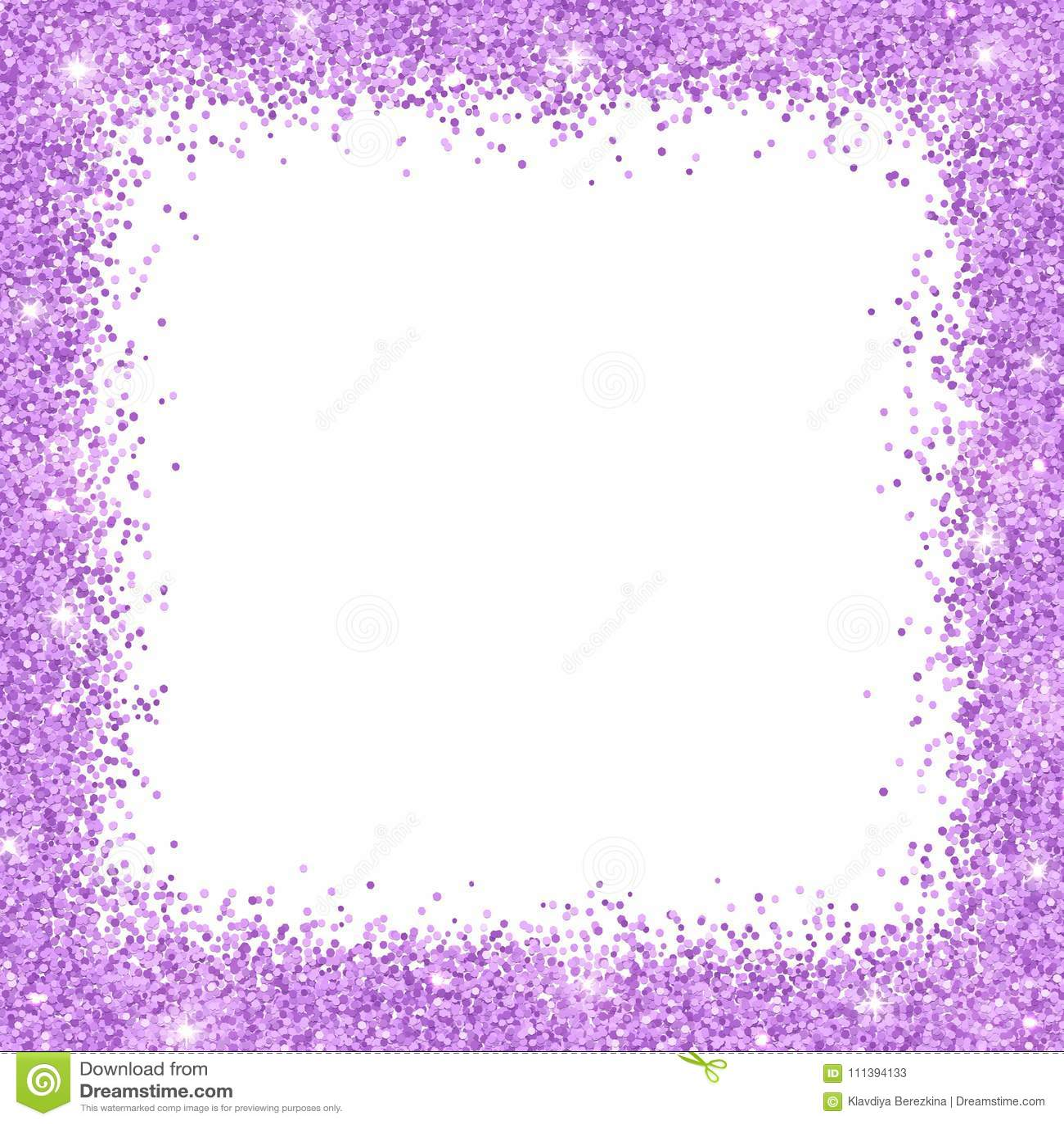 Lilac Glitter Border Frame On White Background. Vector Stock Vector ...