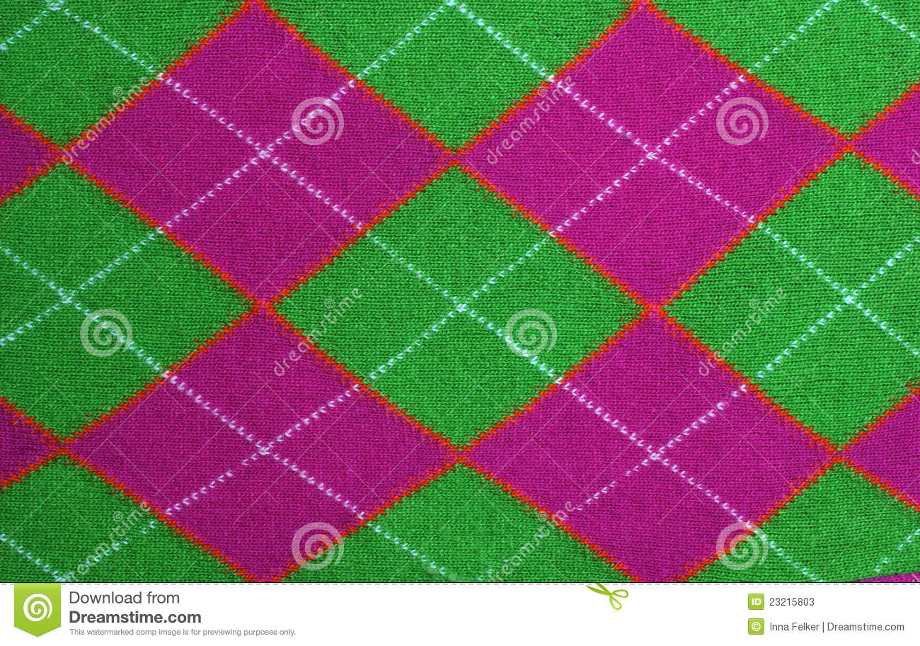 Lilac And Green Argyle Pattern Fabric Stock Photos