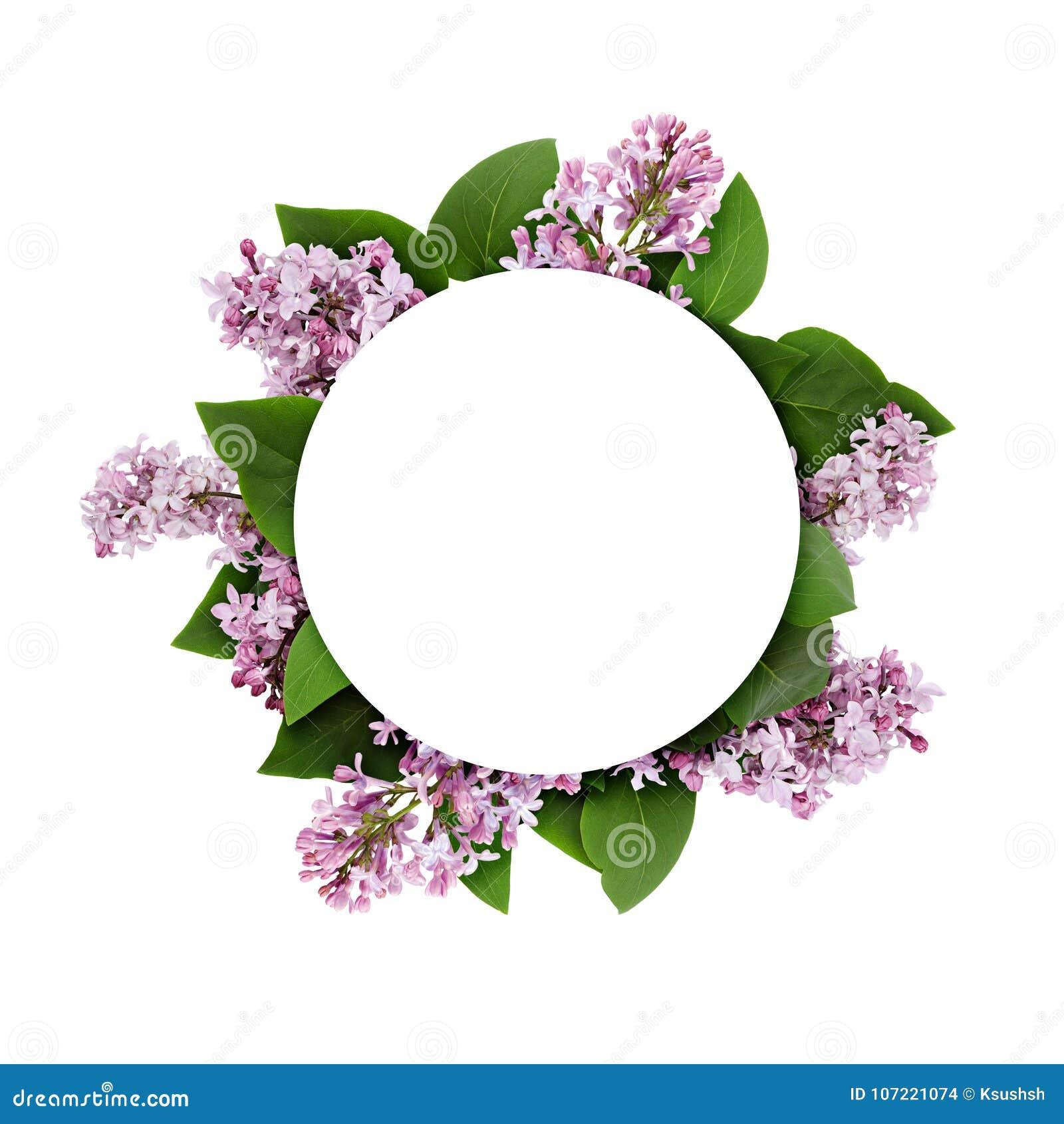 Lilan blommar på rund ram