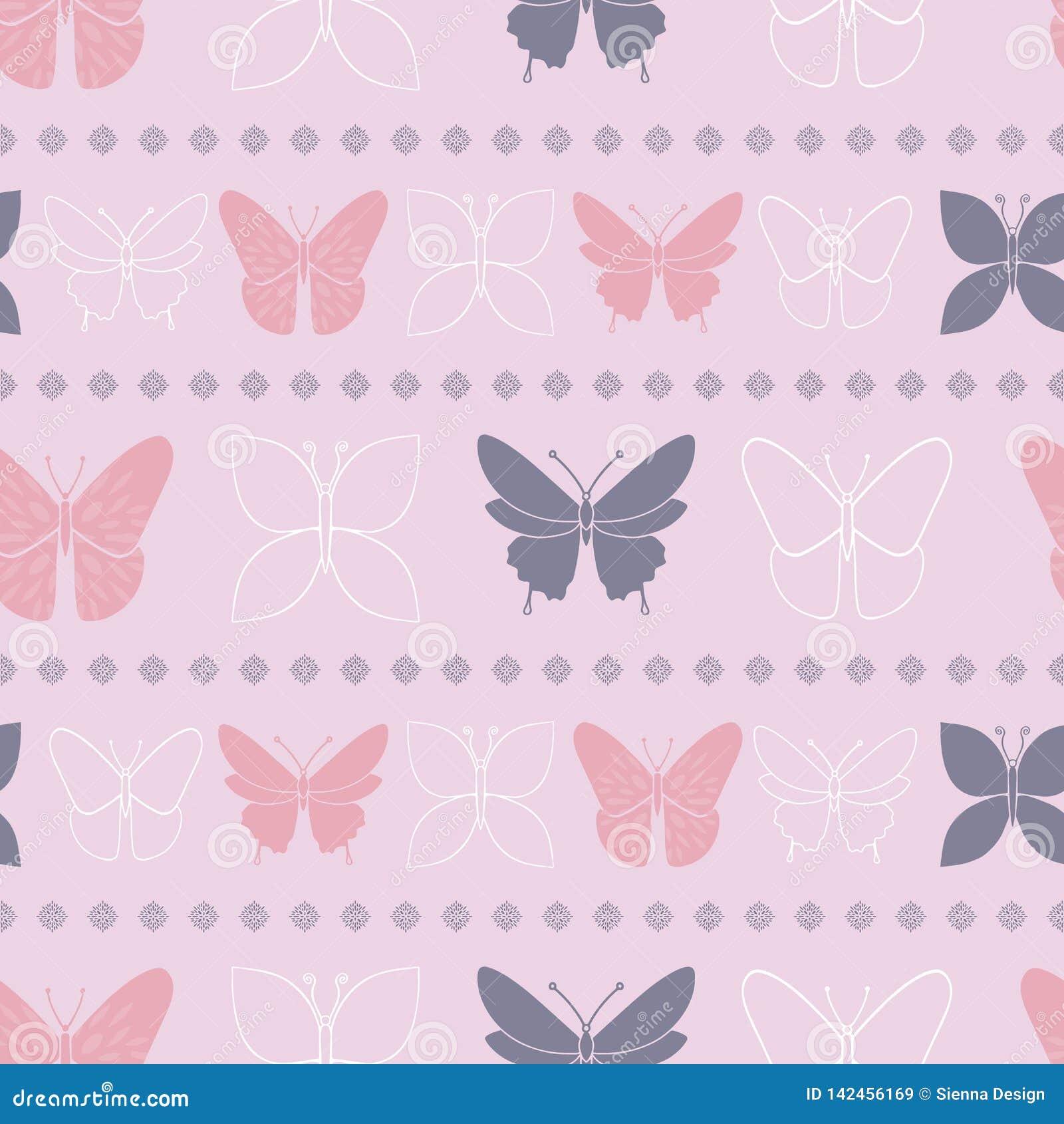 Lilej Motyliej wiosny Bezszwowy wzór