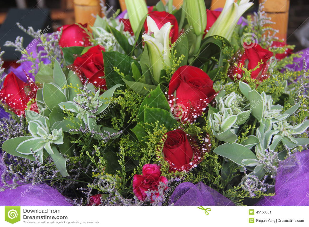 Lilies And Roses In The Flower Shop Stock Image Image Of Beautiful