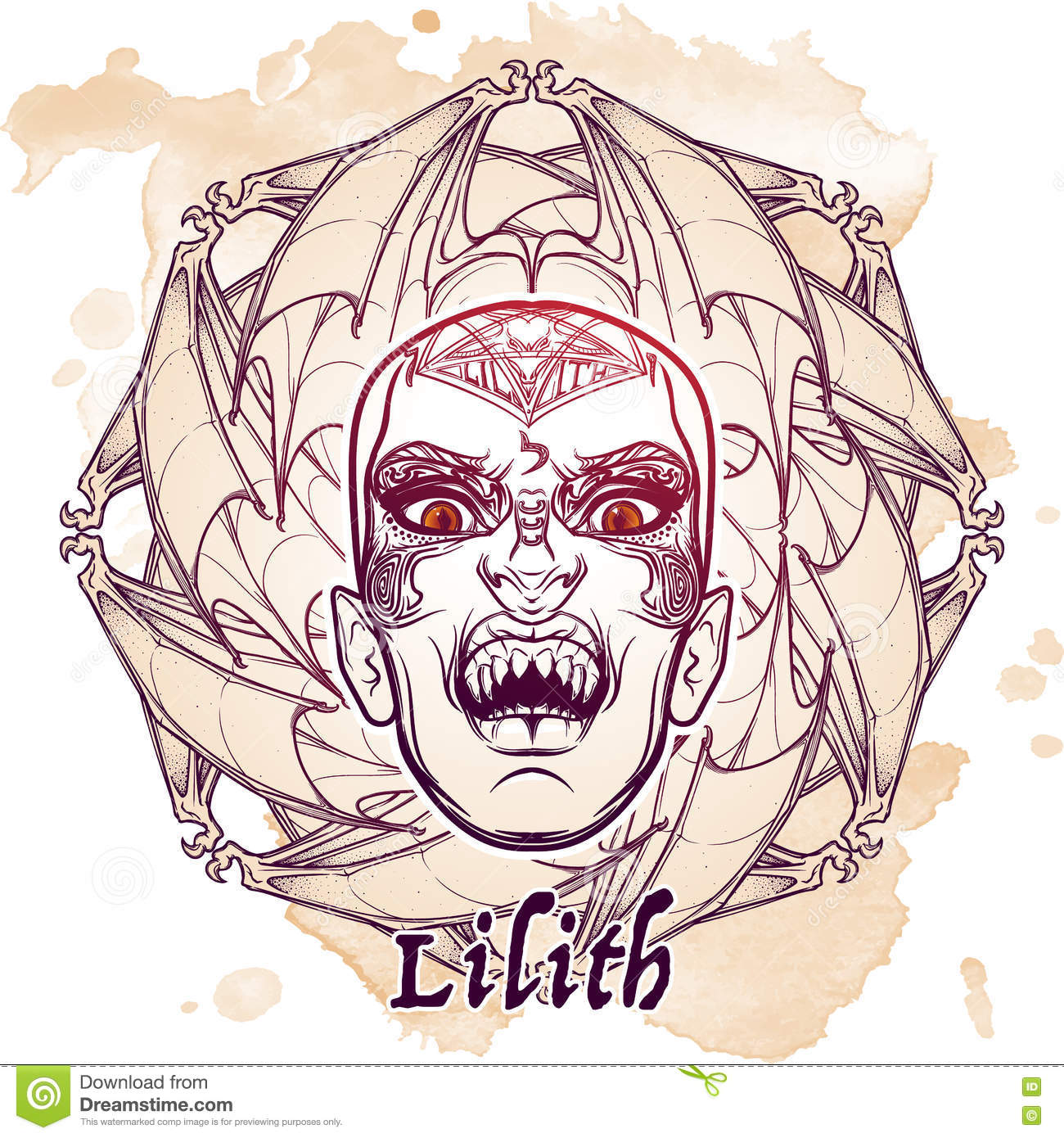 Lilith Sketch On Grunge Background Stock Vector