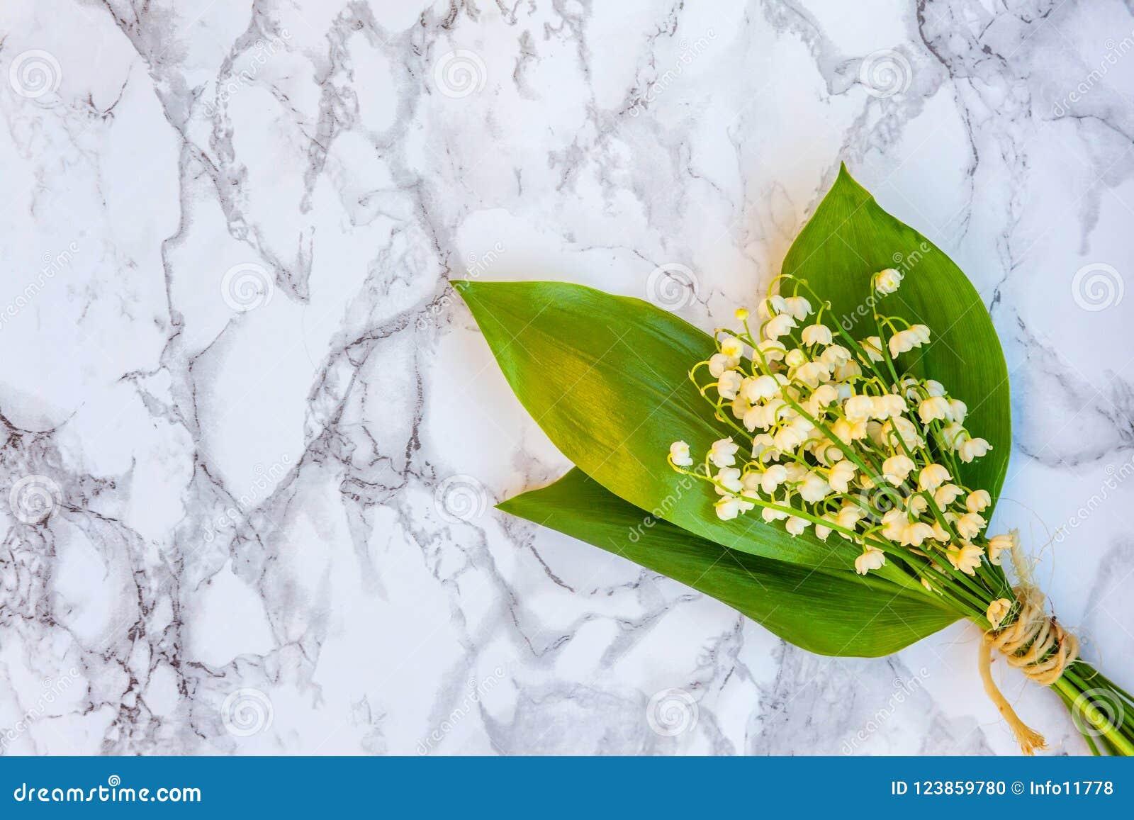 Liljekonvalj eller kunna-lilja på marmorbakgrund