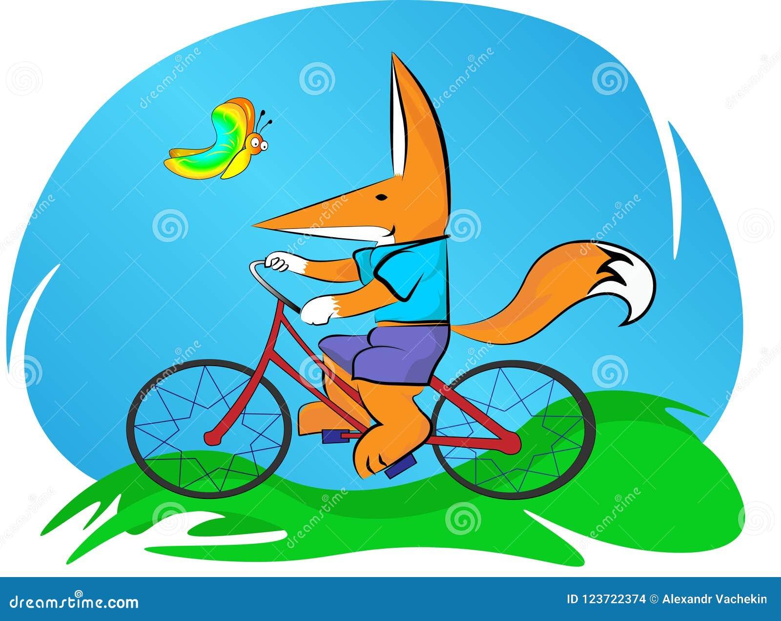 Lilla flickan rider en cykel, i den nya luften bredvid en härlig fjäril flyger