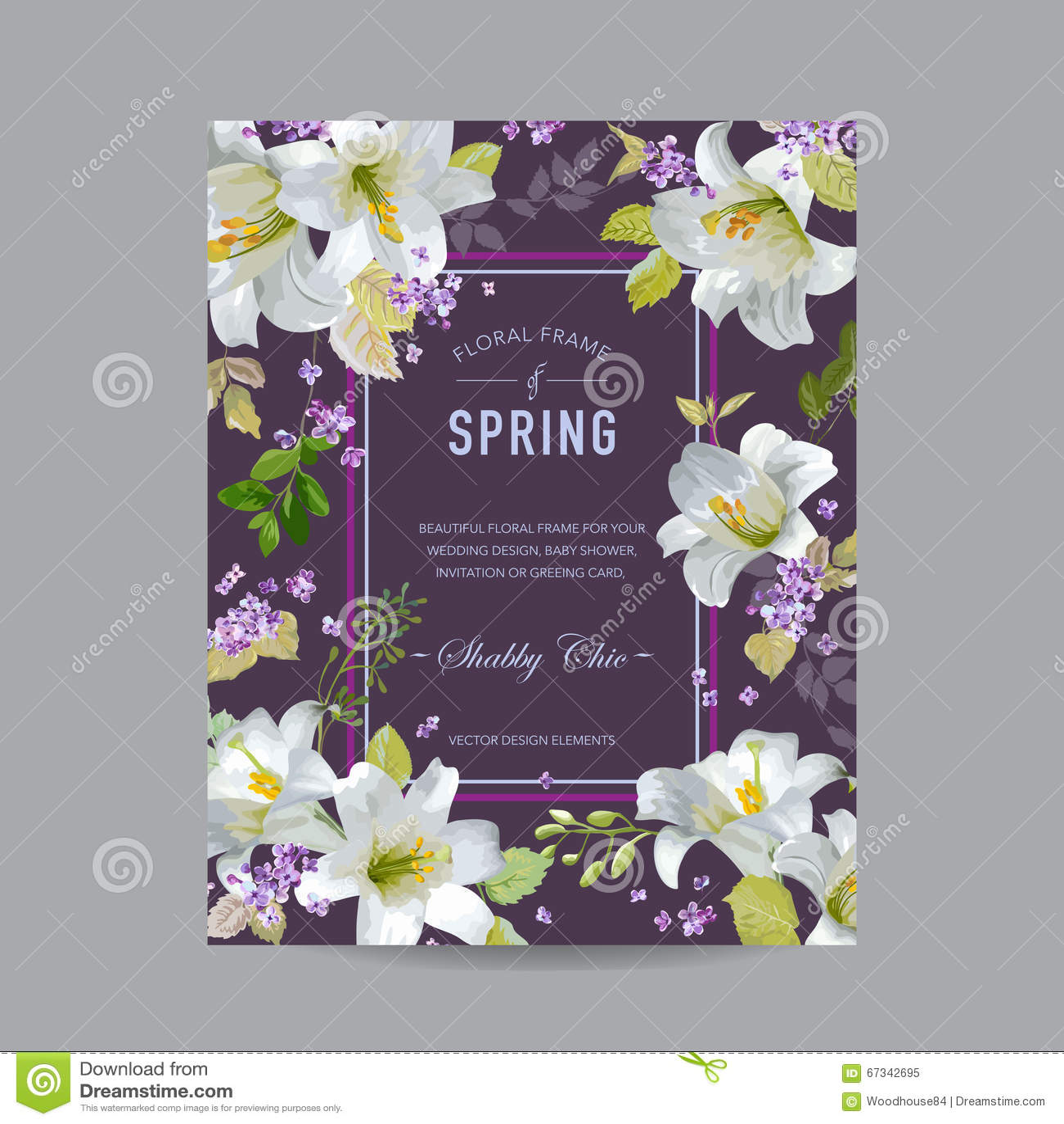 Lily Floral Colorful Frame d annata