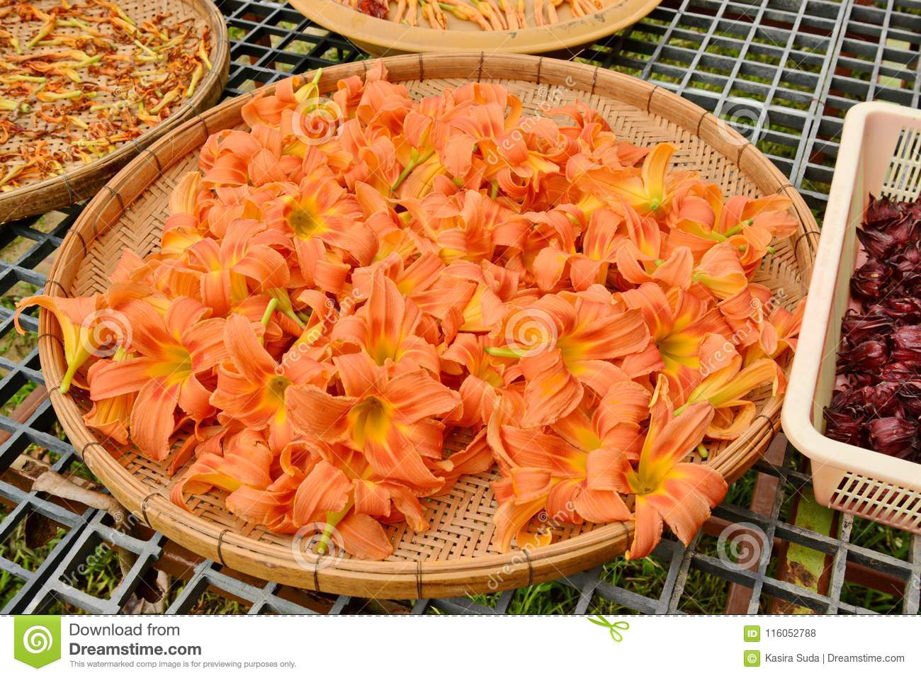 Lily flower in basket bring flowers to dry lily stock photo lily flower in basket bring flowers to dry lily use to cook izmirmasajfo