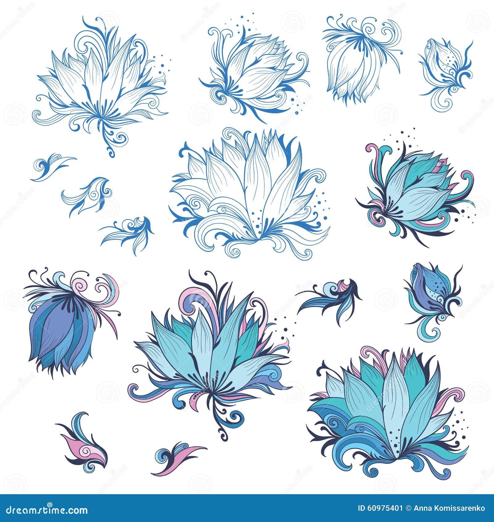 Lily flower design elements set stock vector image 60975401 collection design floral flower lily dhlflorist Images