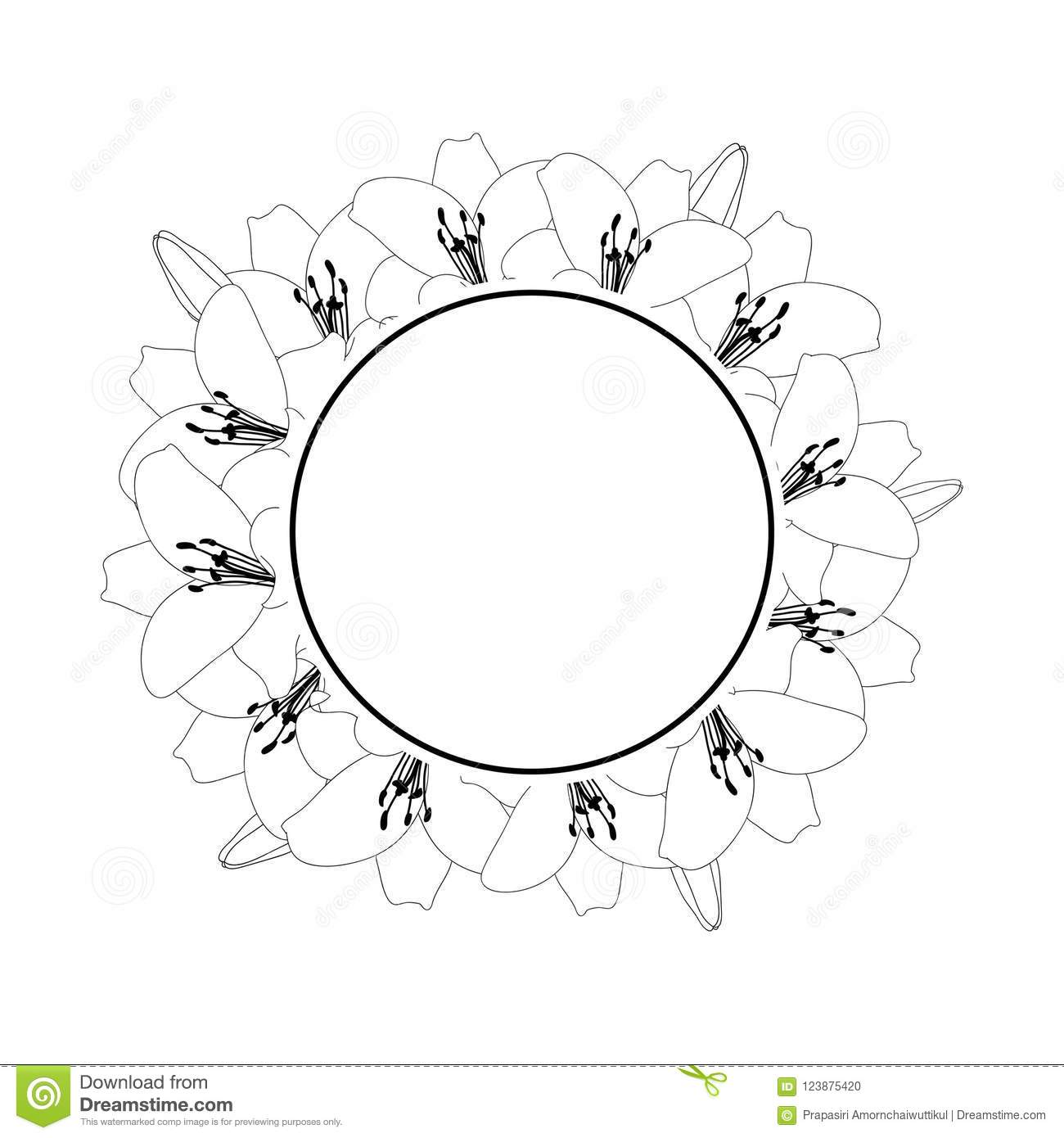 Lily Flower Outline Banner Wreath Isolated On White Background
