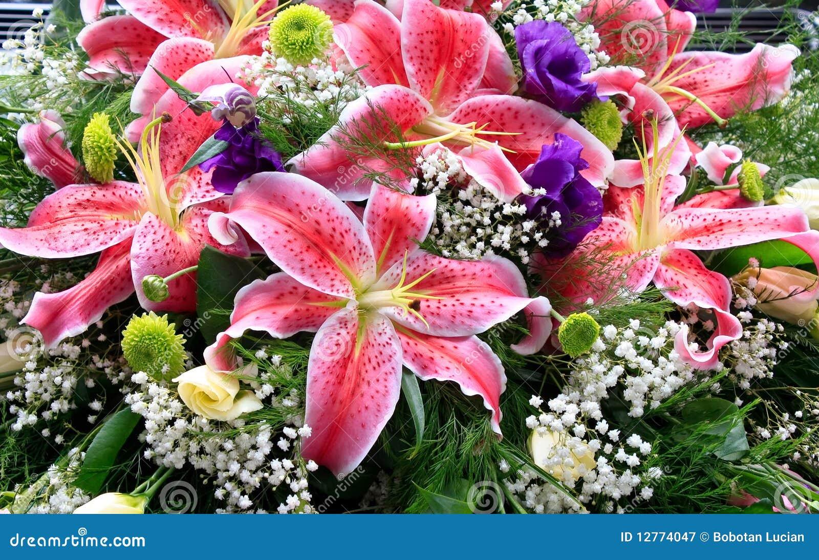 Lily flowers bouquet stock image. Image of arrangement - 12774047