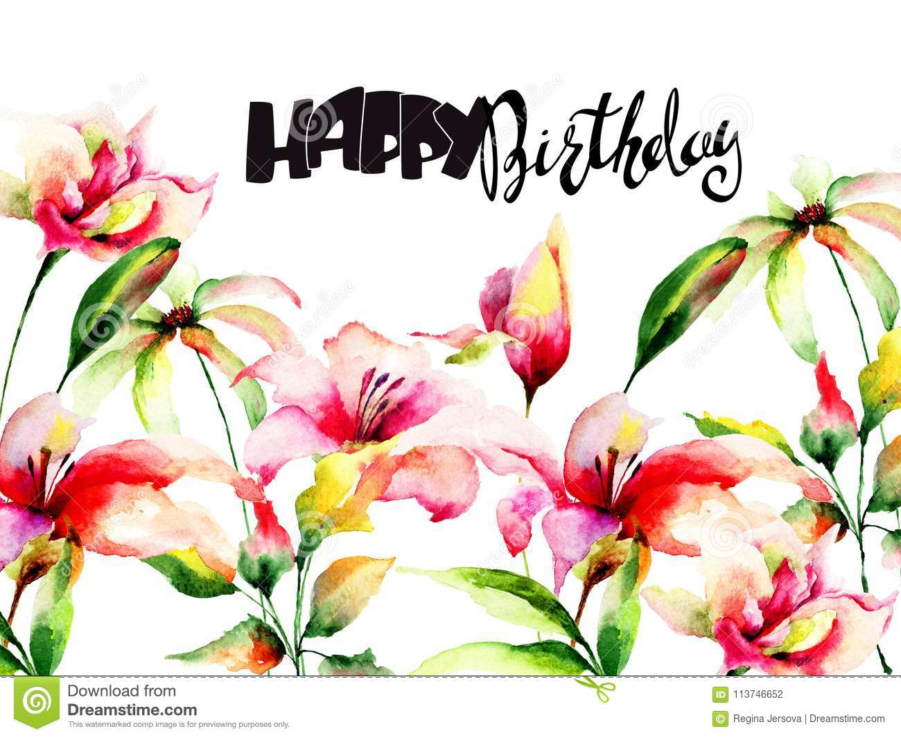 Lily Flowers With Title Happy Birthday Stock Illustration