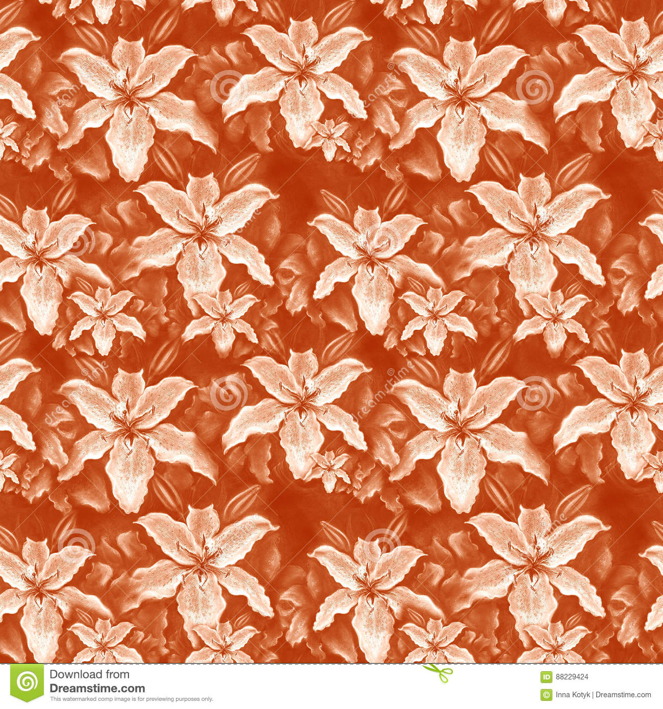 Lily Flowers Wallpaper Drawing Pastel Seamless Pattern Stock