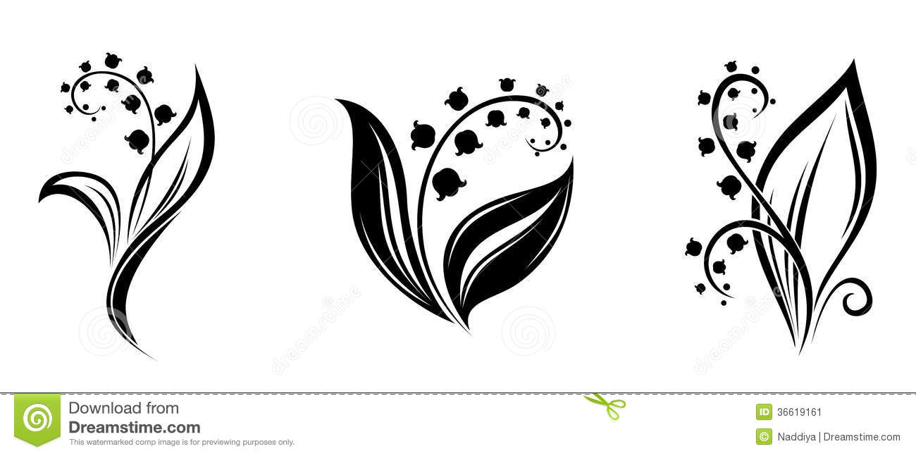 Lily Of The Valley Flowers Black Silhouettes Stock Vector