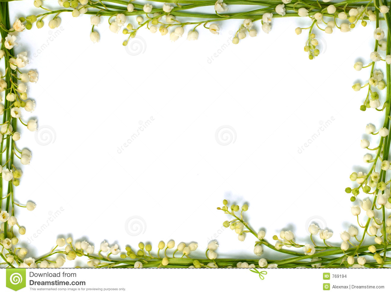Lily Of The Valley Flowers On Paper Frame Border Isolated Horizo Stock