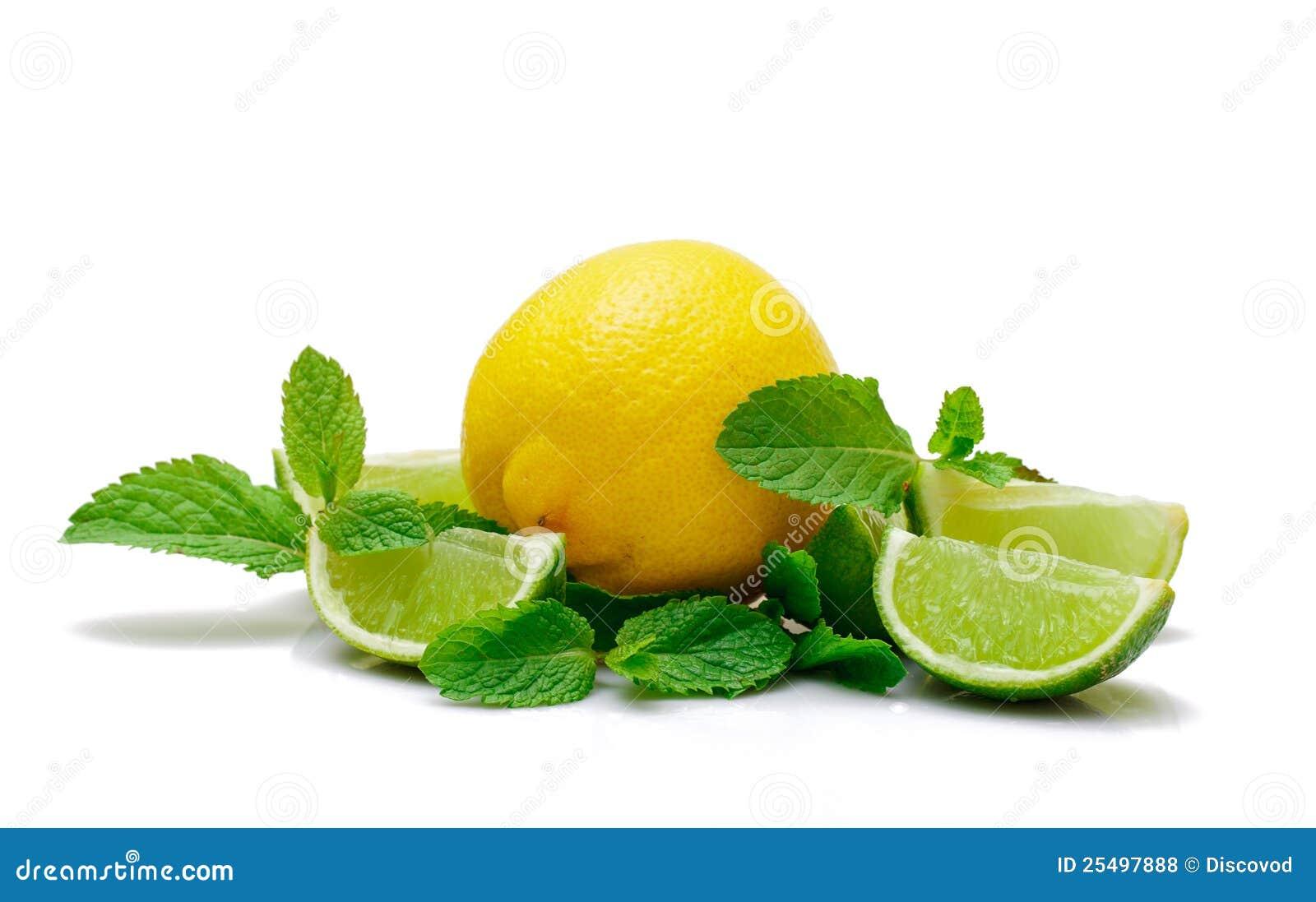 Limón, cal y menta frescos