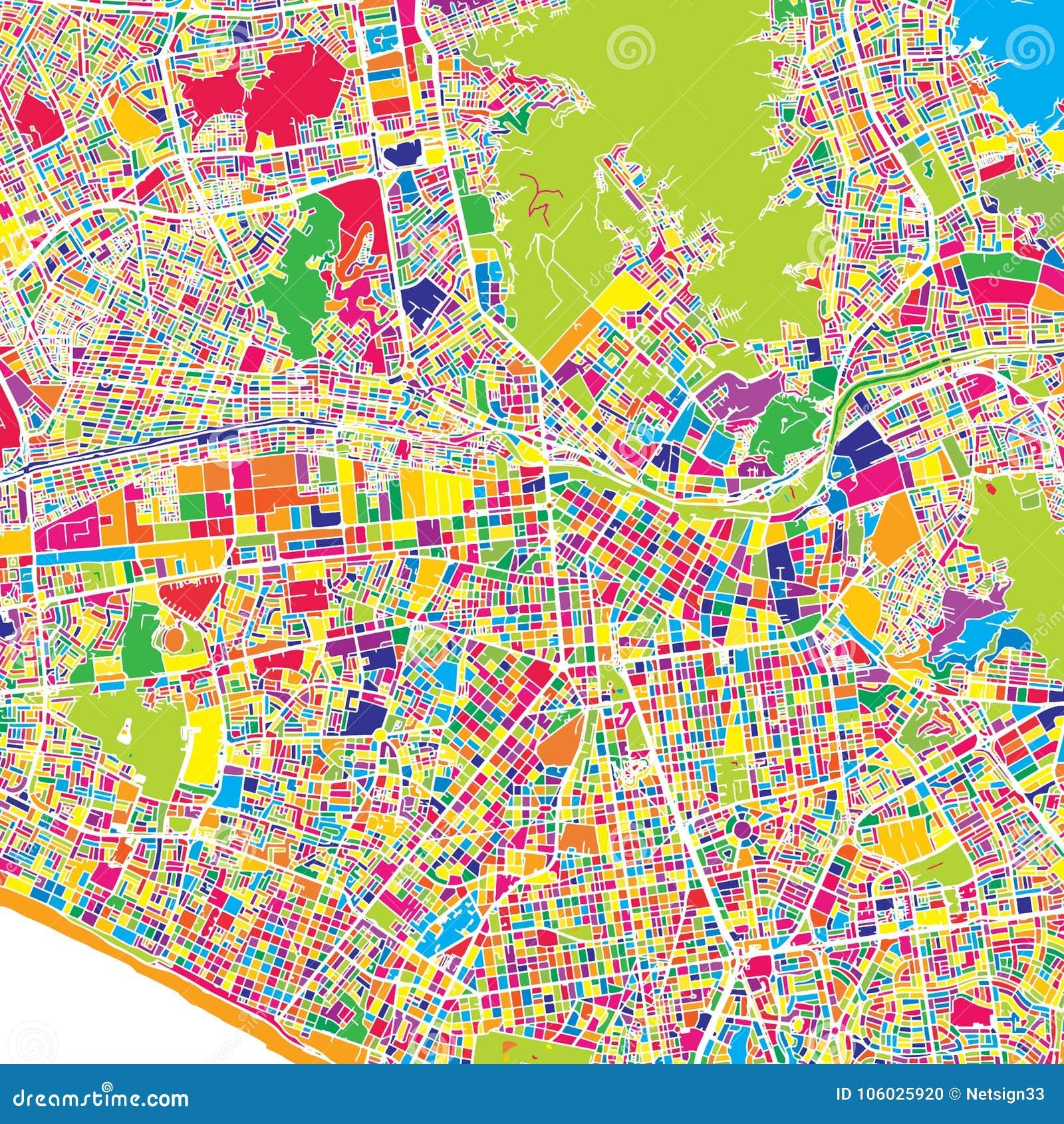 Lima, Lima District, Peru, kleurrijke vectorkaart