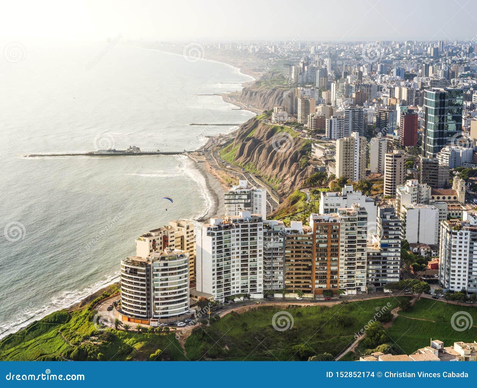 DRONE VIEW MIRAFLORES, LIMA, PERU