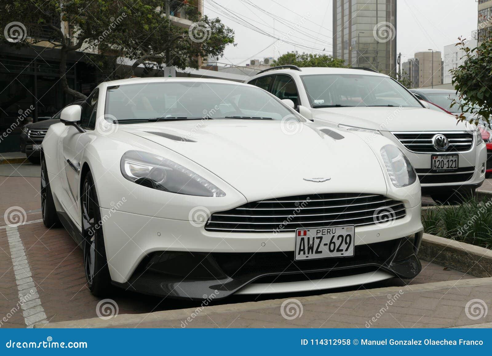 White Aston Martin Vanquish Coupe In Lima Editorial Stock Photo