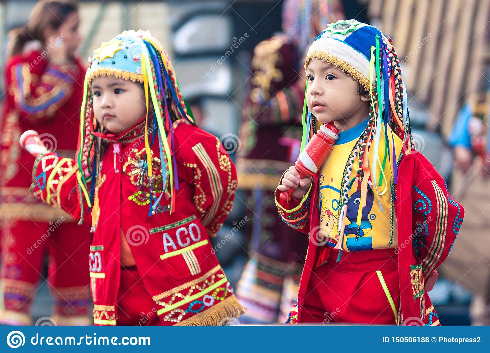 Lima / Peru - June 15.2008: Portrait of the latin baby girl and boy dressed up in traditional, folklore costume.