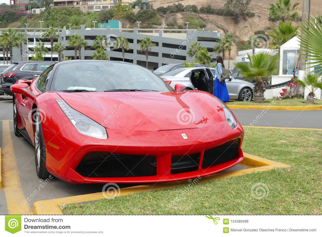 Ferrari 488 Gtb Coupe Parked In Chorrillos Lima Editorial