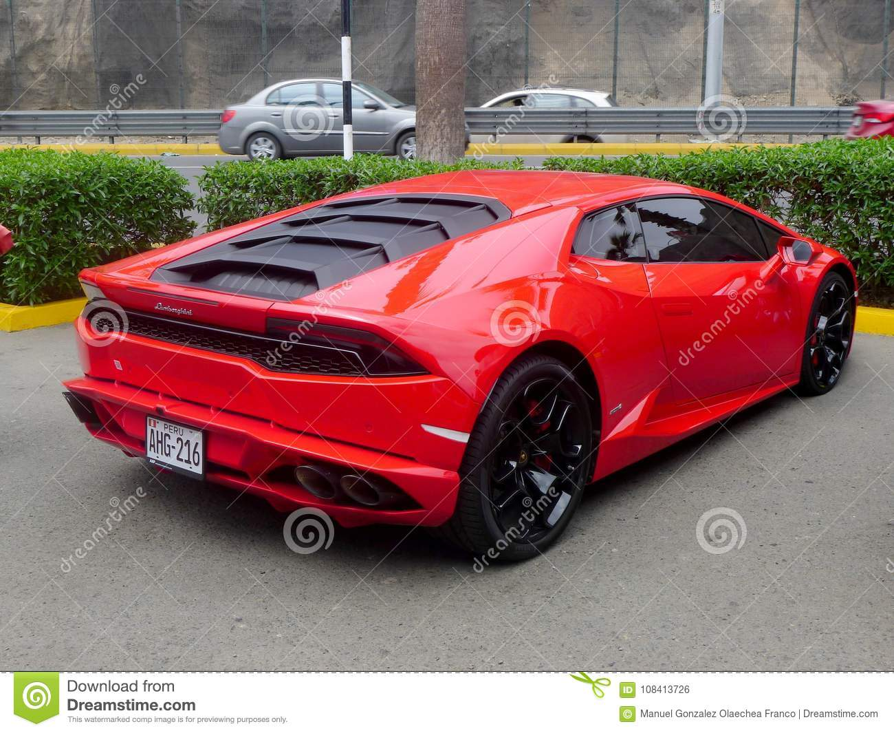 Rear View Of A Red Lamborghini Parked In Lima Editorial Photo
