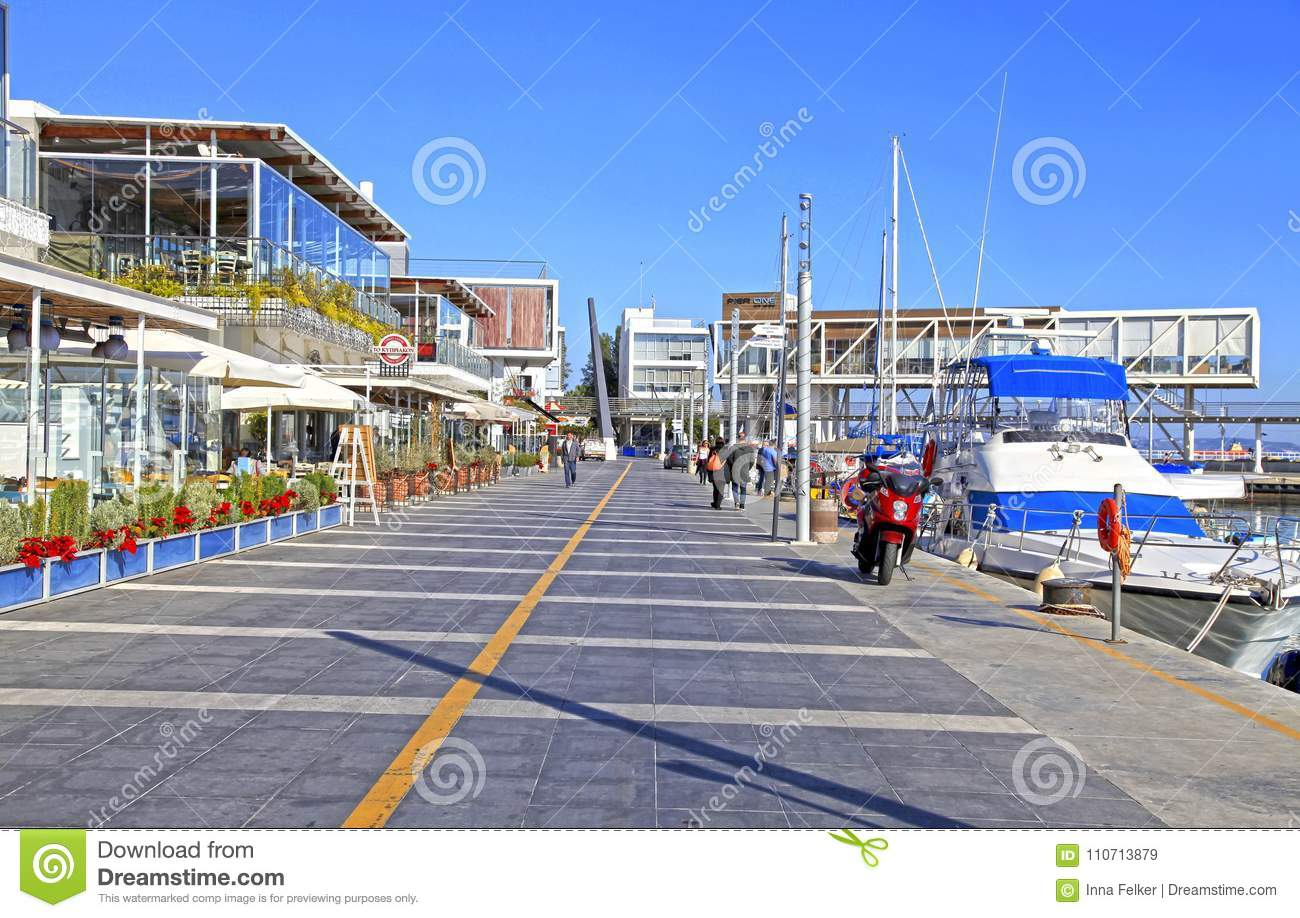 Limassol Old Port with modern restaurants and yachts, Cyprus
