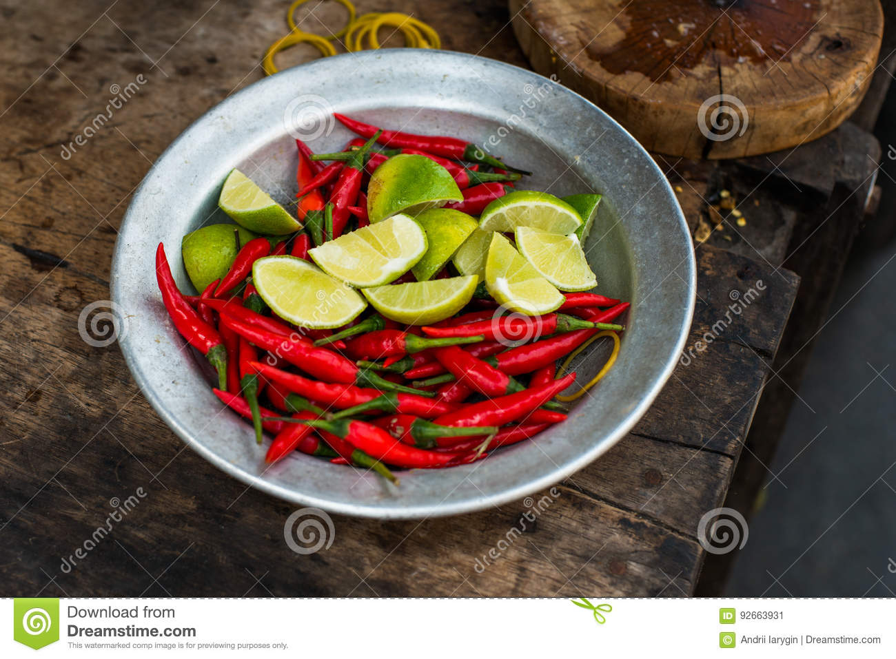 Asian lime and chili, part of Asian food culture, beautiful background with  a theme of street food in south east asia