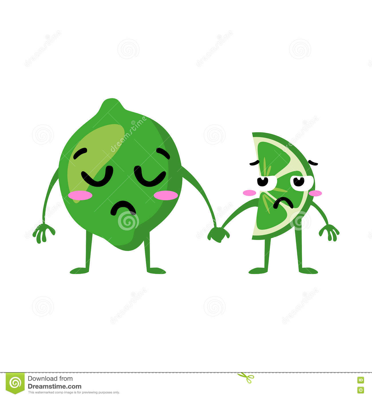 Lime Cute Fruit Vector Character Couple Isolated On White