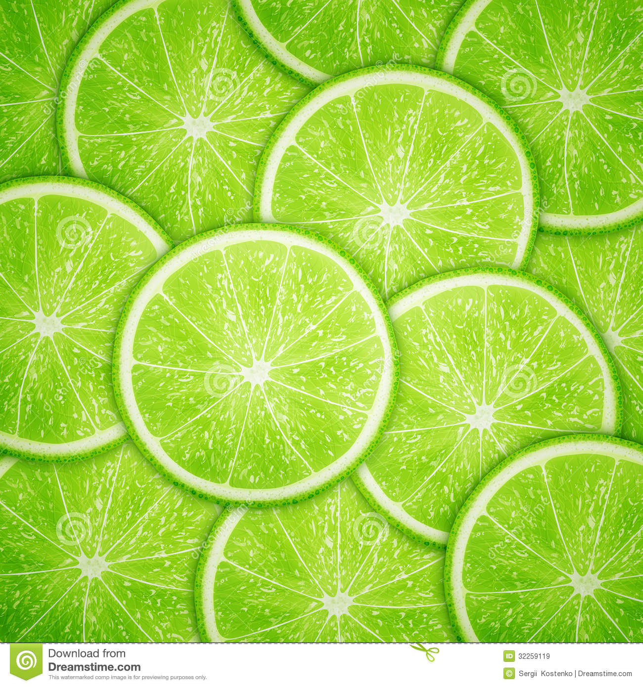Lime Fruit Slices Background Stock Vector - Illustration of collection, group: 32259119