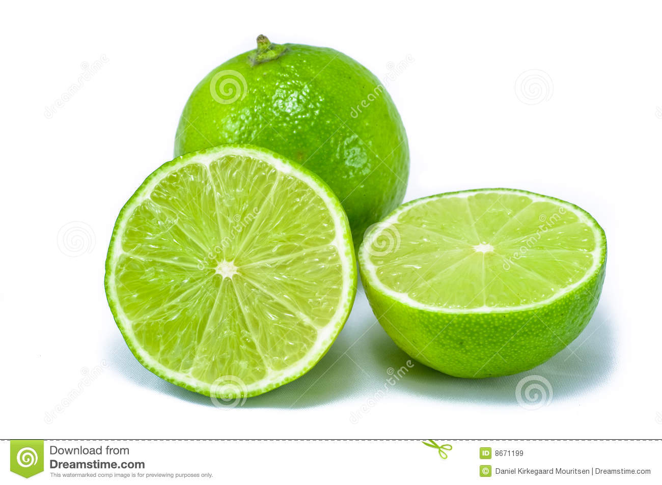 Two lime citrus fruit, one bisected, Isolated on a white background.
