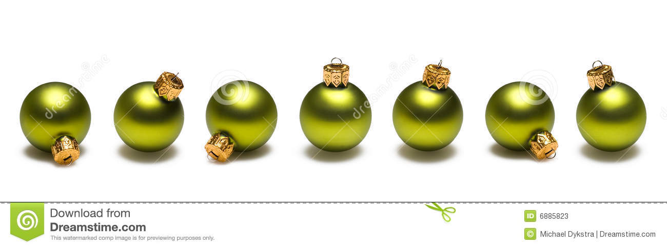 Lime Green Christmas Balls Border Stock Photos - Image: 6885823