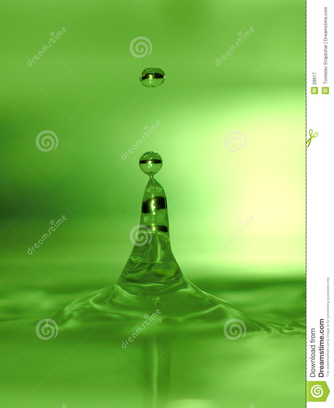 Lime green water drops