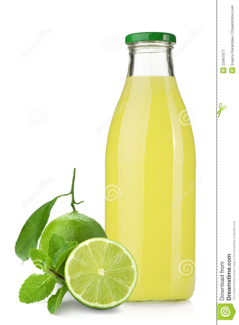 Lime Juice Bottle, Ripe Limes And Mint Royalty Free Stock Photography ...