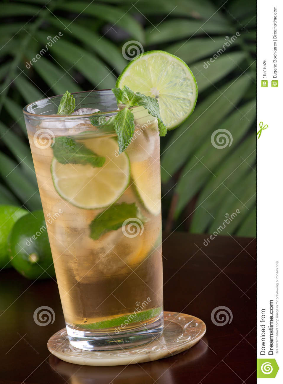 of glass of lime and mint iced tea garnished with lime and mint ...