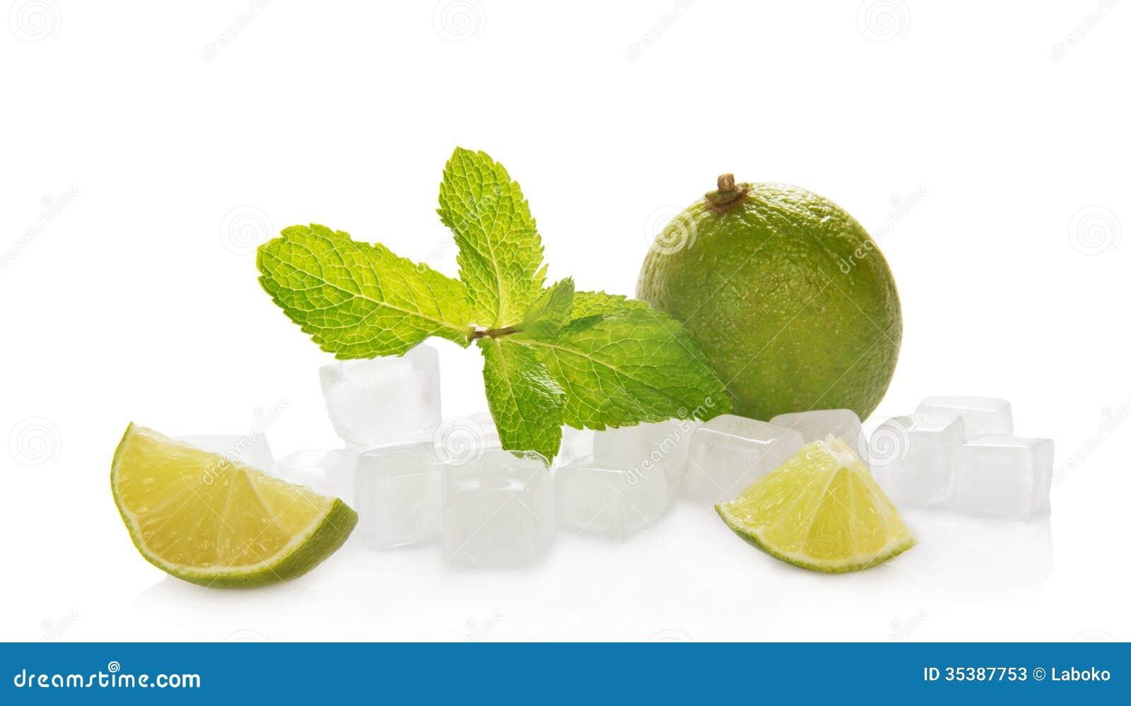 Limefrukt med mintkaramell- och iskuber