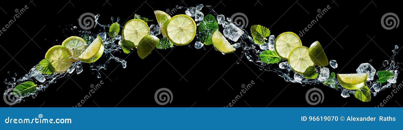 Limefrukt och mintkaramell med vattenfärgstänk