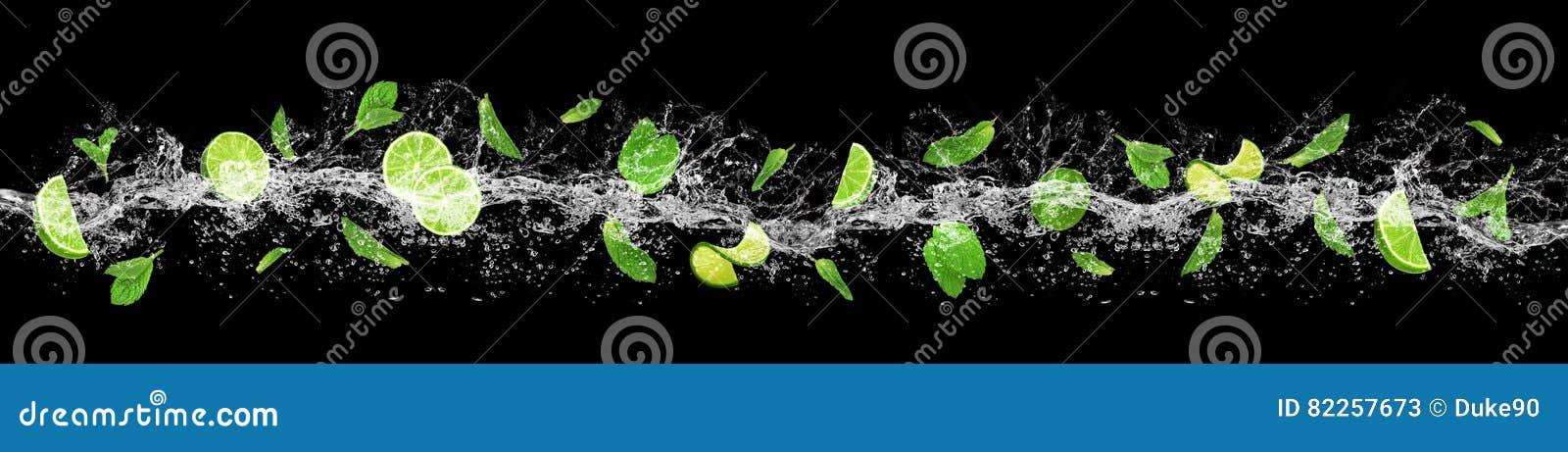 Limefrukt, sidor och vattenfärgstänk